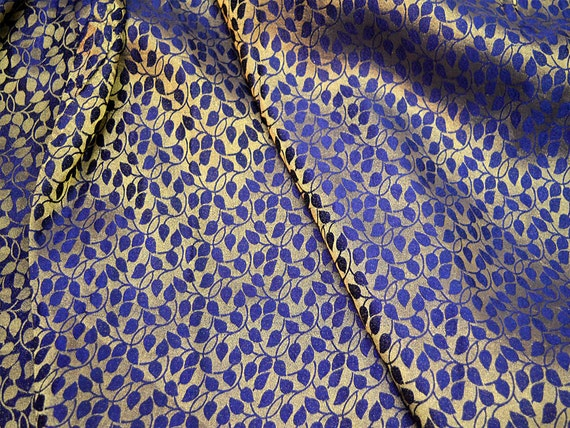 Brocade Fabric by the yard - Navy Blue brocade with gold leafs ...