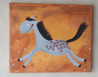 Horse Picture - Kids Painting - Kids Room Decor - Nursery Art - Canvas Painting - Animal Painting -  Paintings on Canvas