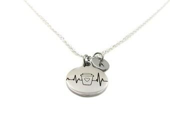 Coffee Necklace, Coffee Charm, Coffee Lover Charm, Coffee Lover Necklace, EKG Necklace, Coffee Pendant, Coffee Jewelry, EKG Jewelry