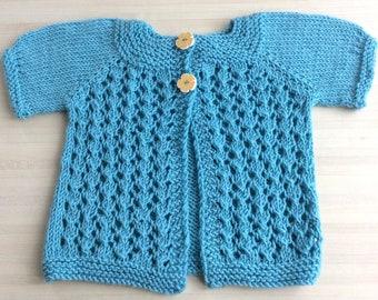 Gilet de printemps turquoise pour bébé taille 3 - 6 mois - laine mérinos toute douce