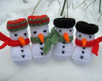 Snowman Baby Booties, KNITTING PATTERN, Holiday DIY Gift for baby, Christmas knitting pattern, Baby Shower, Photo Prop, Instant Download pdf
