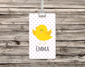 Personalized Easter Basket Chick Hanging Tag // Easter Plastic Hanging Tag // Cute Easter Chick  Personalized Easter Basket Name Tag