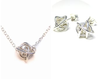 Silver Knot Necklace and Earring Set, Tie the Knot Jewelry, Bridsmaids Set