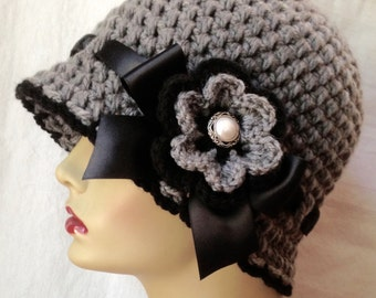 SALE Crochet Cloche Womens Hat, Black and Gray, Chunky, Flower, Flapper, Ribbon, Winter Hat, Birthday Gifts, Photo Prop, Handmade JE276CR6A
