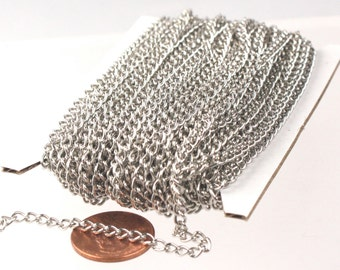 100 ft of Rhodium Plated Curb Chain - 3.0mm 0.8mm Unsoldered Link