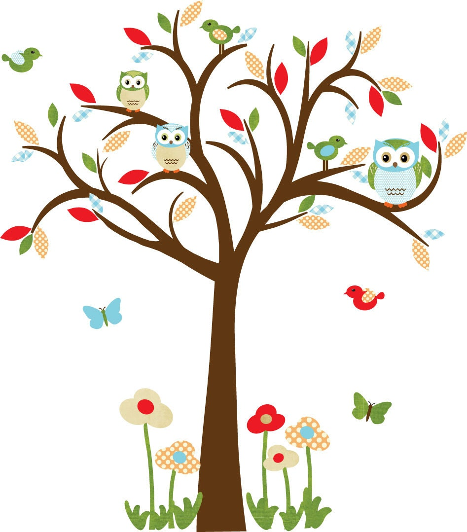 ?zoom  sc 1 st  Etsy & Owl decal Nursery Decal Childrens wall Decal Owl tree wall