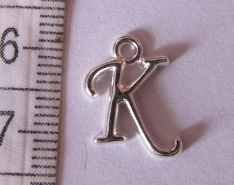 """pendant letter, from """"K to T"""", series3, silver pendant, creation jewels"""