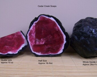 GEODE SOAP ~ Geode Soap Rock Crystal Formation Red Quartz Ruby Soap Rocks All Sizes