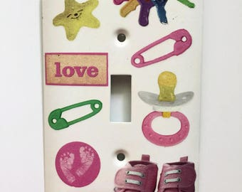 Baby Girl Sparkly Light Switch Cover, Baby Gift, Nursery, Sneakers, Pacifier, Pink Footprints, Diaper Pins