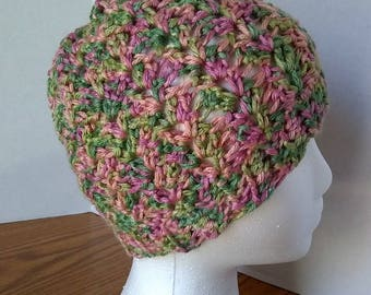 Crocheted Child Size Beanie -- Handmade -- Beautiful mix of greens and pinks -- Perfect for St Patrick's Day-- Soft -- 100% Acrylic