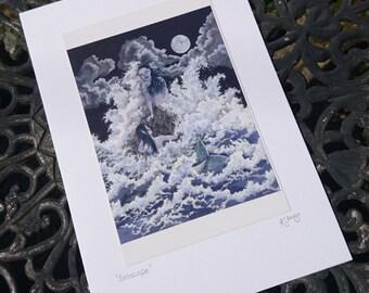 Mermaid Card - seascape, night, nocturnal, moon, waves, mermaids, merfolk, merpeople, ocean, sea, swimming, full moon, storm, fantasy, myth