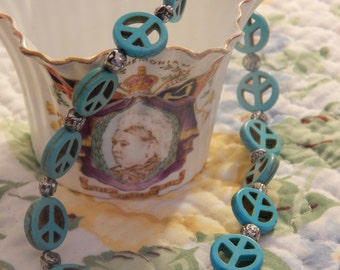Peace turquoise and sliver necklace