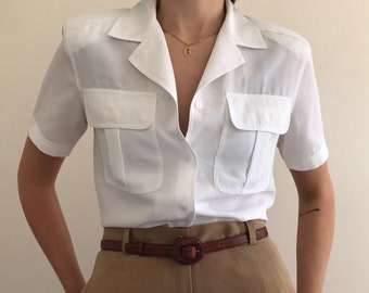 90's Vintage Fluid White Button Up Blouse with Short Sleeves and Front Pockets