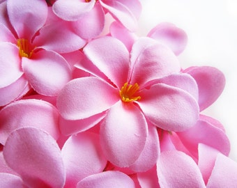 12 Pink Plumeria Frangipani Heads - Artificial Silk Flower - 3 inches - Wholesale Lot - for Wedding Work, Make Hair clips, headbands, hats