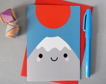 Mt Fuji Kawaii Card - Bon Voyage Travel Greetings Card - Japan - Mountain