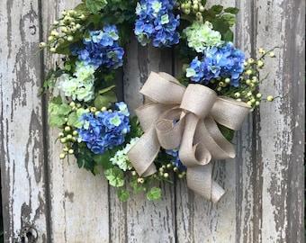Blue Hydrangea Wreath,Spring Wreath,Double Door Wreath,Mothers Day Wreath,Hydrangea Wreath,Front Door Wreath,Double Door Wreath