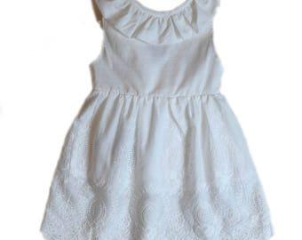 White Eyelet Sleeveless Bow Back Dress