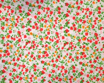 Printed cotton fabric Orange and yellow flowers on white background, price is for 50 cm