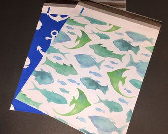 50 REDUCED  10x13 FISH Marine and ANCHOR Nautical Assortment Poly Mailers 25 Each Self Sealing Envelopes