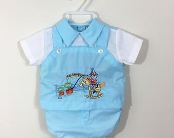 70s Bugs Bunny Embroidered Shirt and Diaper Cover Set, Size 0 to 6 months