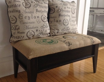 Burlap coffee bean bag bench