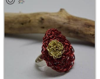 Wire Crochet Ring / Red & Gold Ring / Statement Ring / Unique Crochet Jewelry / Crochet Wire Jewelry / Unique Ring / Wire Red Ring / Gift