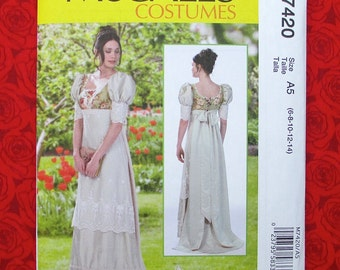 McCall's Sewing Pattern M7420, Regency Gown, Empire Waist, Train, Puff Sleeves, Sizes 6 8 10 12 14, Historical Georgian Costume Dress, UNCUT