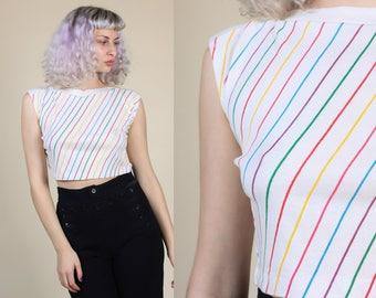 80s Rainbow Striped Crop Top // Vintage Cropped Shirt Womens - Medium