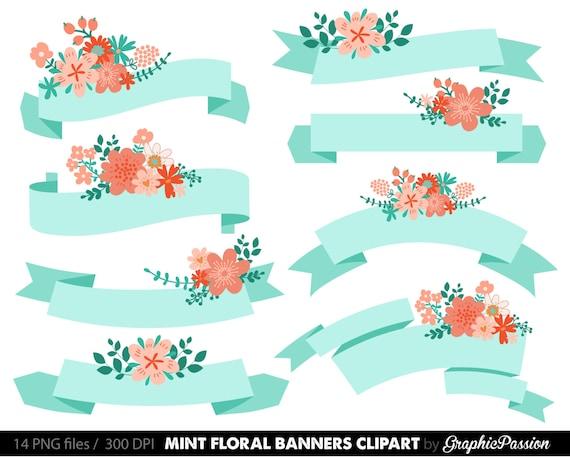 Digital Floral Banners Clipart Mint Digital Wedding Floral