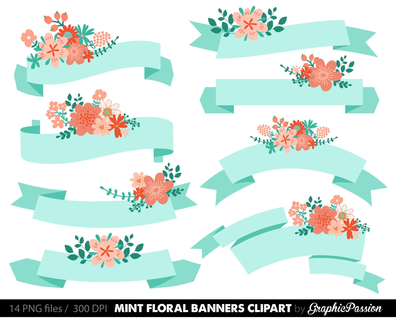 Digital Floral Banners Clipart Mint Digital Wedding Floral Clip Art ...