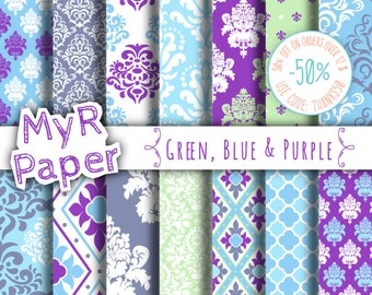 "damask digital paper: ""Green, Blue  & Purple"" digital paper pack with damask backgrounds and patterns for scrapbooking"