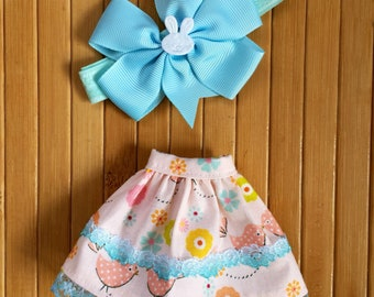 Skirt and Headband Set for Neo Blythe - Pink Turquoise Birdy