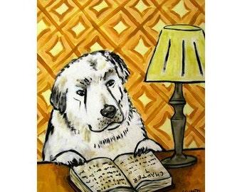 Great Pyrenees Reading at the Library Dog Art Print  JSCHMETZ modern FOLK  POP art gift