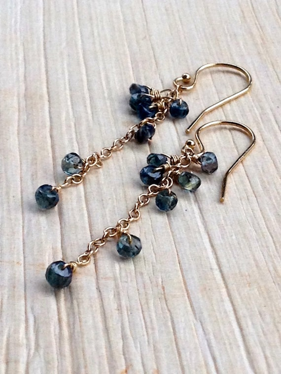 Blue Sapphire Earring Dangles - Genuine Sapphire Cascade Earrings - Wedding Jewelry - September Birthstone - Minimalist / Gift for Her