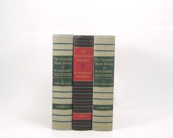SOMERSET MAUGHAM Book Collection, Antique Decorative Books, old Graybooks, Classics, Book Decor, book gift, Book Centerpiece, Literature