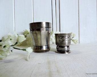 Vintage French silver plate Art Deco baby cup and egg cup  set for Christine