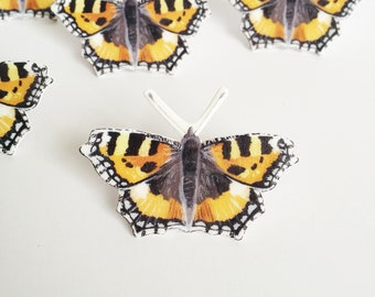 Small Tortoiseshell Butterfly Pin - Butterfly Pin - Wildlife Pin - Shrink Plastic Pin - British Butterfly - Nature Lover Gift - Nature Pin
