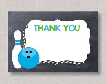Bowling Thank You Card, Thank You Card, Bowling Birthday Thank You, Thank You Note, Bowling Birthday, Printable Thank You Card