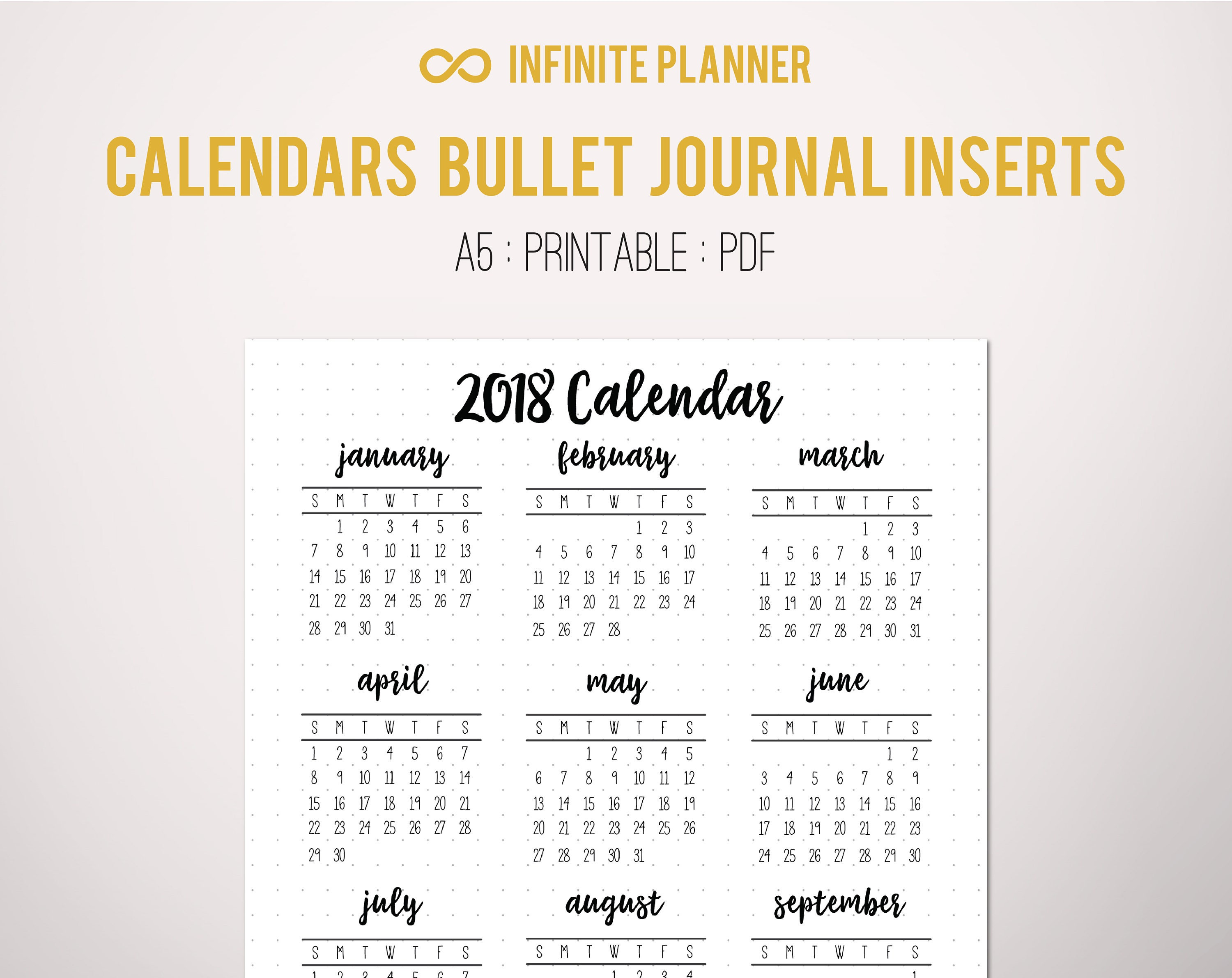 Calendar Bullet Journal 2018 : Calendar year at a glance page or sticker bullet