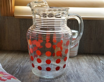 Vintage 1950s Hazel Atlas Red Ombre Polka Dot Ribbed Pitcher with Lip