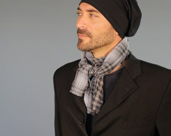 Organic Cotton Gauze Scarf in Reversible Checked Plaid -  Scarf - Unisex - Eco Friendly - Black Gray