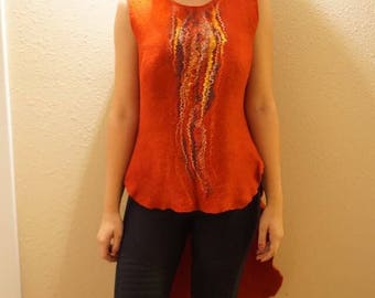 Red felted tunic