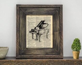 Vintage Dictionary Print - Piano