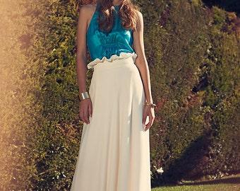 Modal white overprinted high waist long skirt