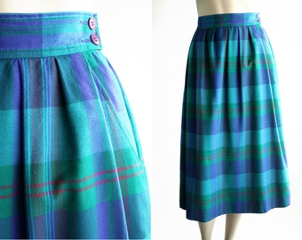 Vintage Miss Pendleton Blue and Green Plaid Woman's Midi Skirt