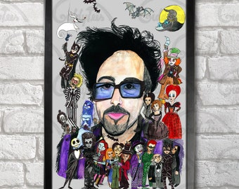 Tim Burton print + 3 for 2 offer! size A3+  33 x 48 cm;  13 x 19 in, by hatoola13