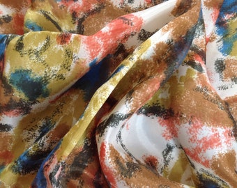 1950s Abstract Silk Scarf