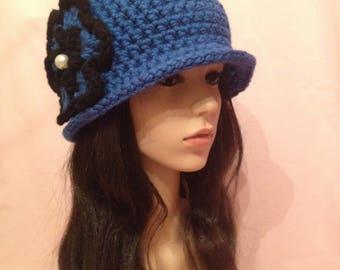 Crochet 20s Style Cloche Hat Blue