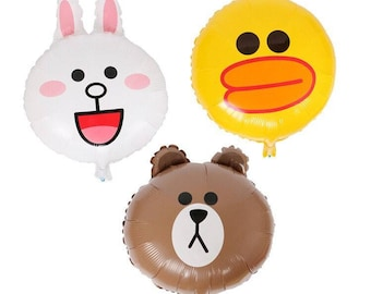3 Line friends aluminum balloons, Brown, Sally and Connie, Children party balloons, birthday party decor, Korea Line Friends