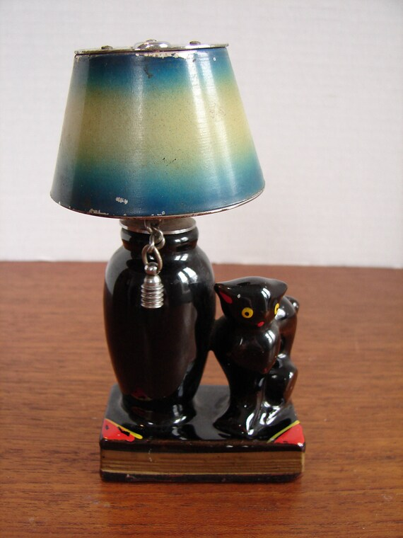 1940s black cat ceramic figural lighter cat sitting on